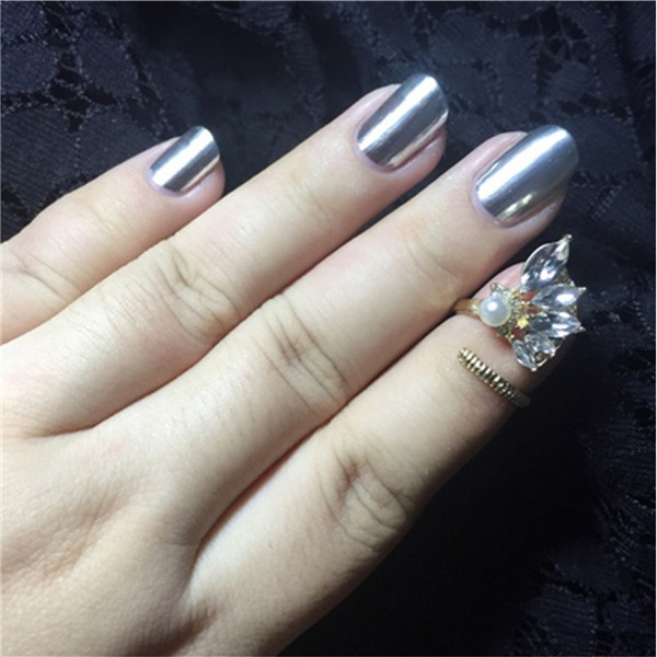 15ml Metallic Mirror Effect Metal Silver Nail Art Polish Varnish Top Coat