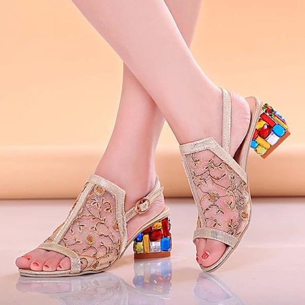 Summer Women Chic Shoes Slip On Platform Sandals Crystal Heel Beach Sandals Shoes
