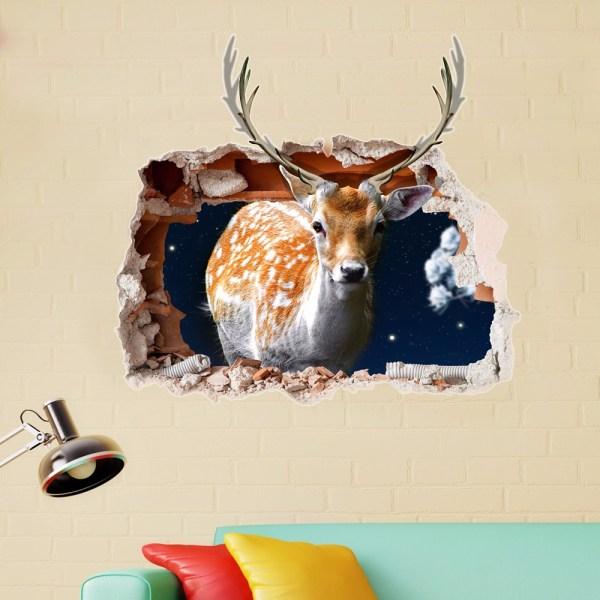 Pag 3d Christmas Deer Sticker Wall Decals Home Hole Decor Banggood