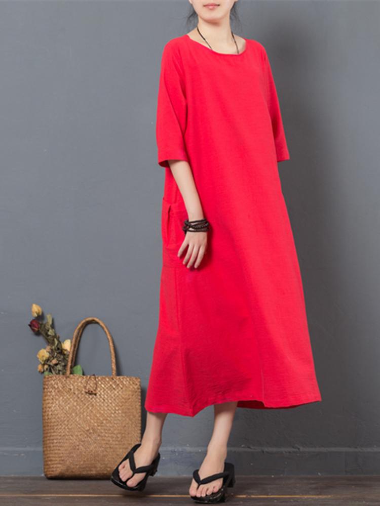 Women Half Sleeve Pocket Pure Color Loose Dresses