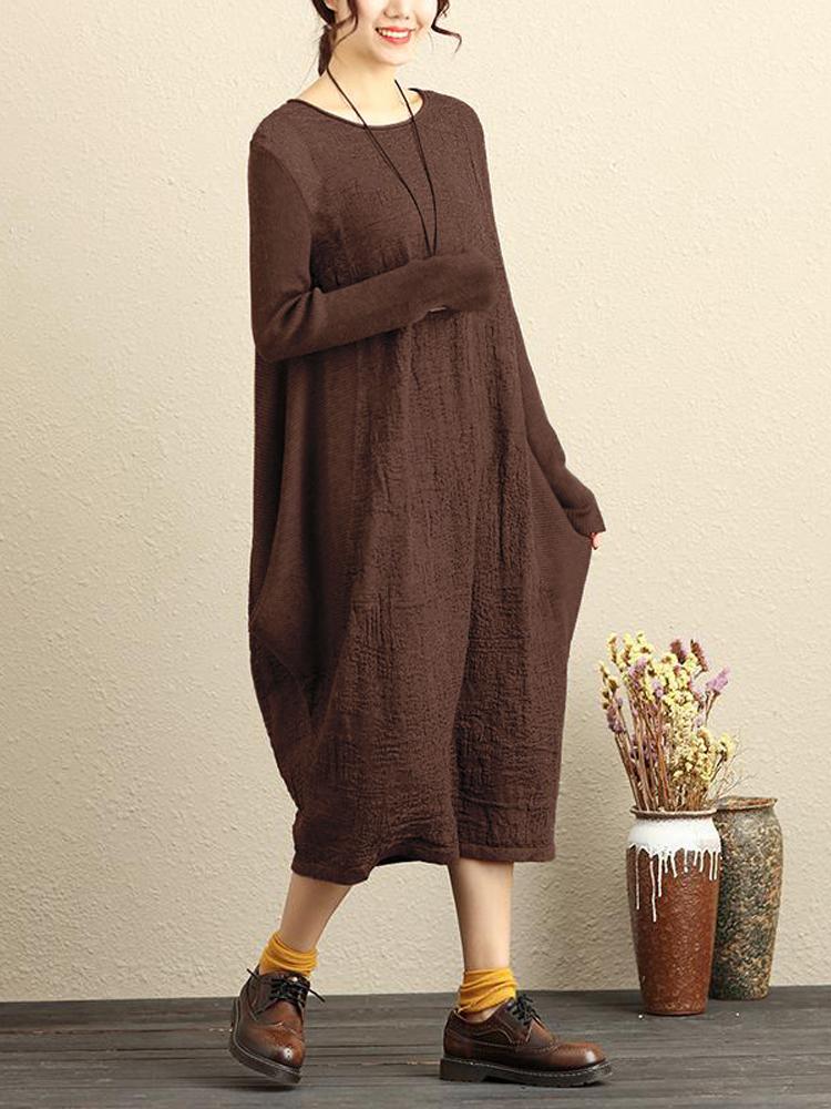 Celmia Women Long Sleeve Pure Color Casual Loose Dresses