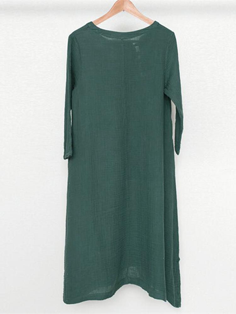 S-5XL Women Side Pocket Pure Color Asymmetric Dress