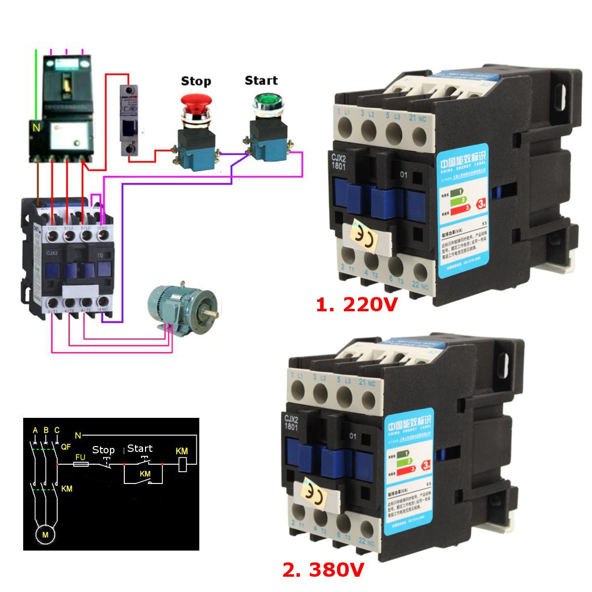 5 Wire Relay Wiring Diagram Compressor Cjx2 1801 Ac 220v 380v 18a Contactor Motor Starter Relay 3