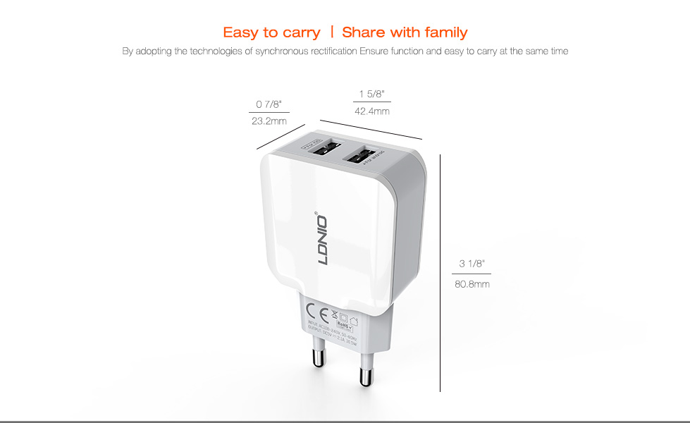 LDNIO A2202 2.4A EU Dual USB Ports Travel Charger for