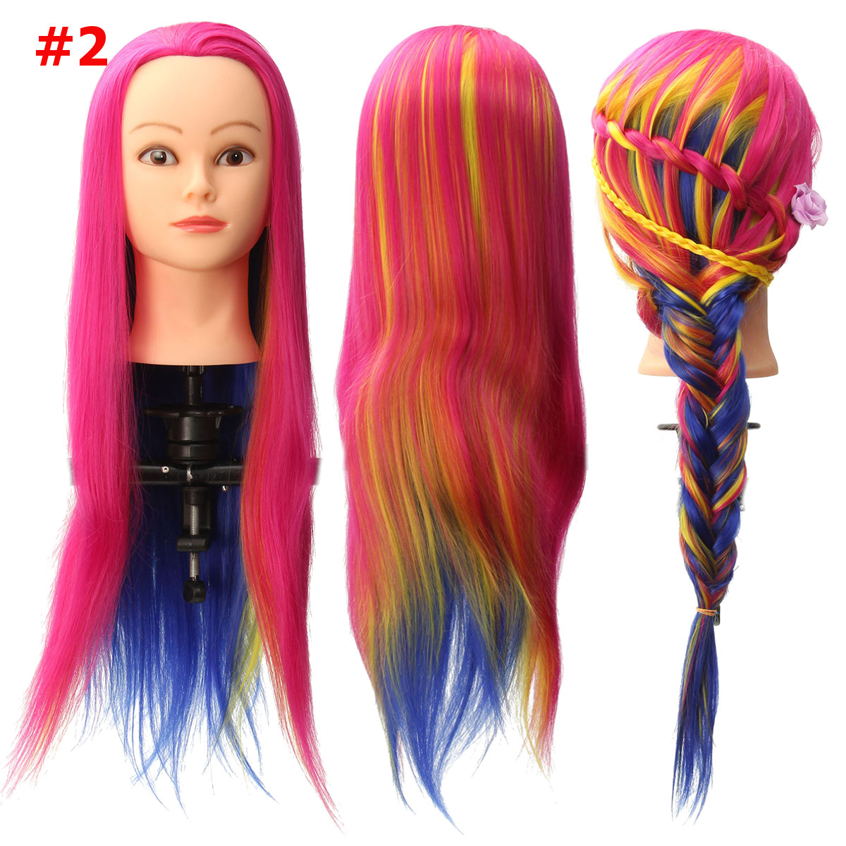 8 Colors Salon Hairdressing Braiding Practice Mannequin Hair Training Head Models With Clamp