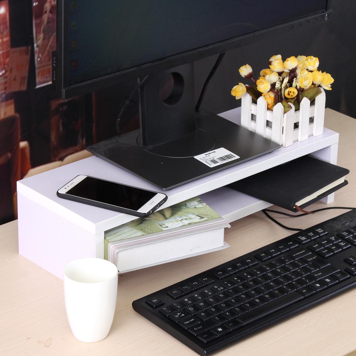Black White Desktop Wooden Monitor Stand Computer Monitor Riser Wood Shelf Plinth  Alexnldcom