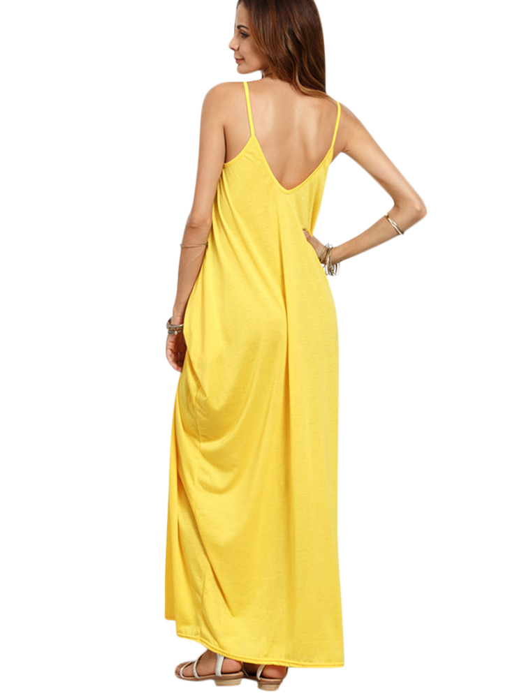 Women Casual V-neck Spaghetti Sleeveless Long Maxi Dresses