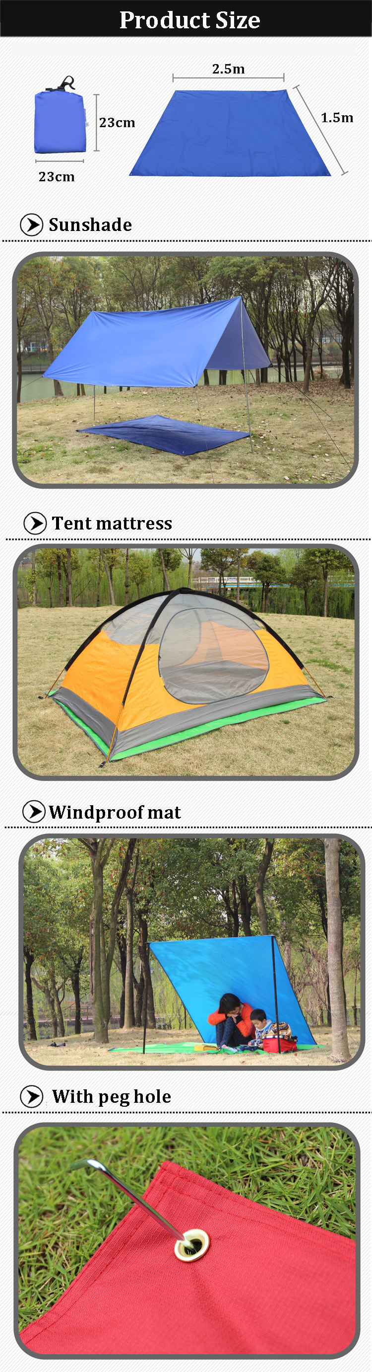 Note Only tarp is included not include pole stick and rope. Package Included 1 x C&ing sunshade tarp(Only)  sc 1 st  Check-Coin & IPRee 250x150CM Portable Camping Tent Sunshade Outdoor Waterproof ...