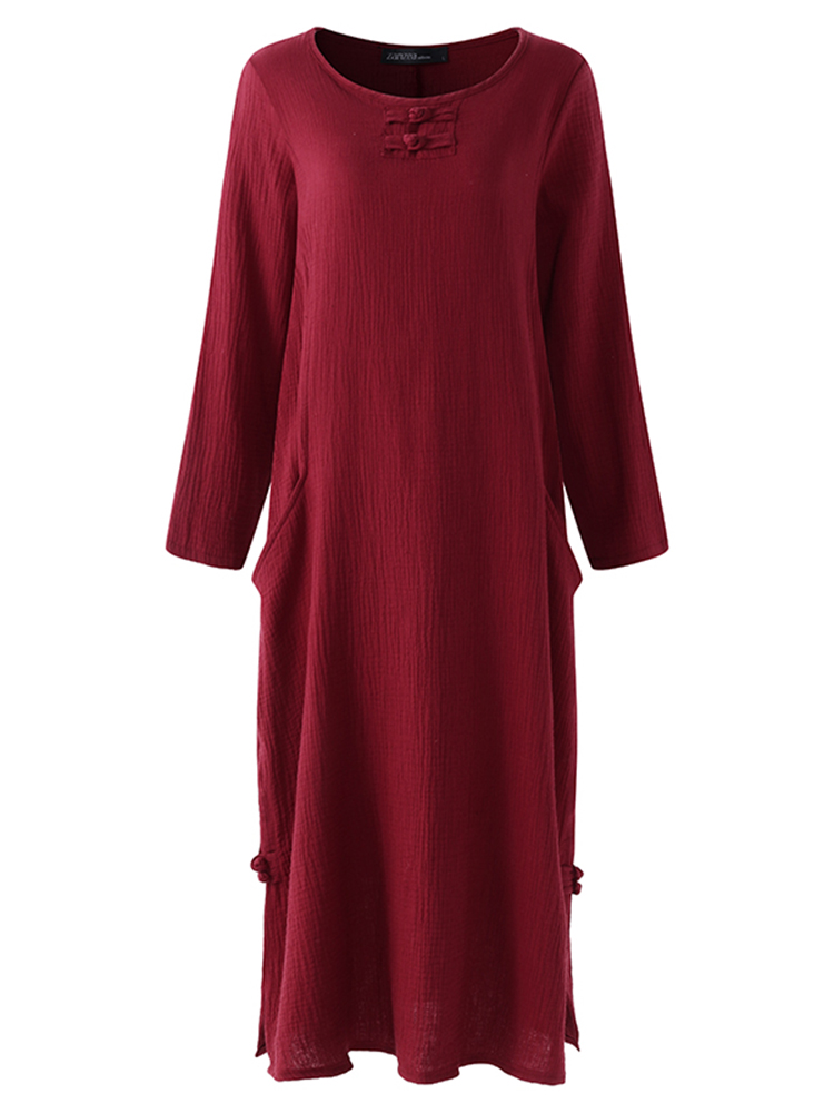 Retro Women O-Neck Long Sleeve Solid Color Pocket Maxi Dress