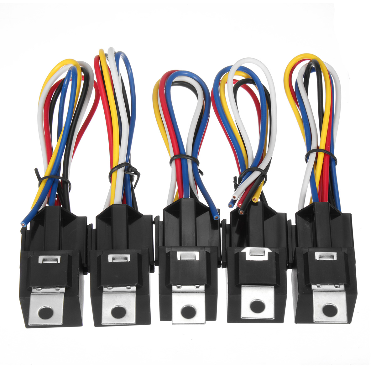hight resolution of 10pcs dc 12v 30a 5pin relay interlocking sockets wires