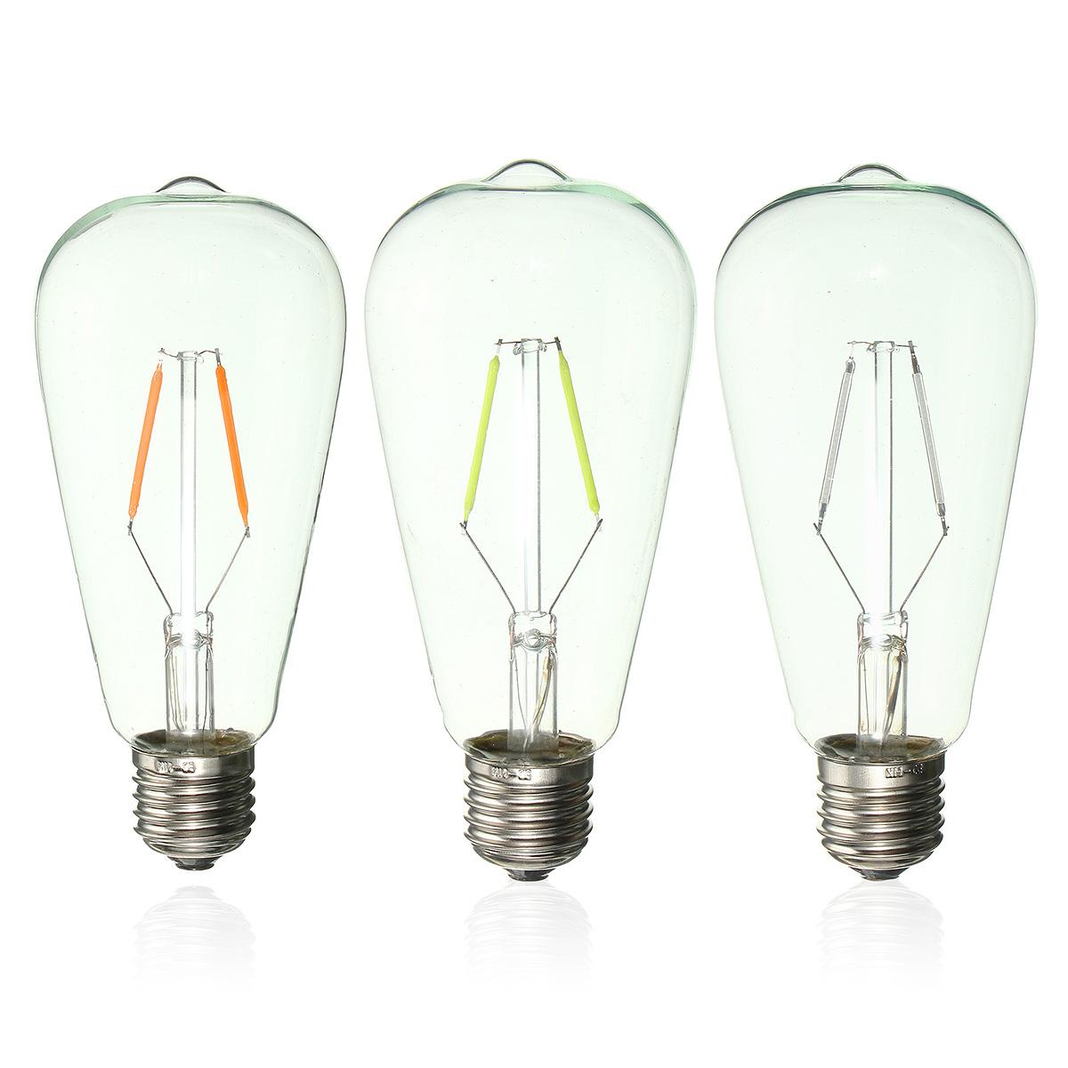 E27 St64 2w Vintage Edison Light Bulb Led Cob Filament
