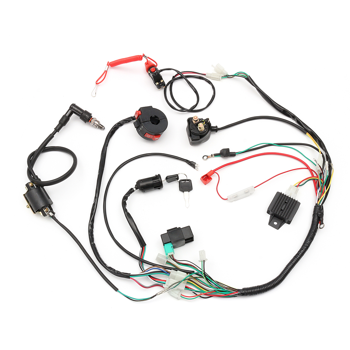 hight resolution of  comes with regulator 4 wire ignition key ignition coil 5 pin cdi unit kill start light choke switch housing spark plug solenoid emergency safety
