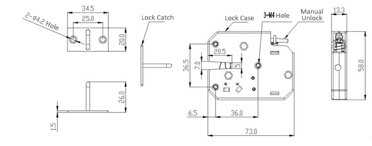 K02 12V DC 2A Electric Magnetic Lock Intelligent Cabinet
