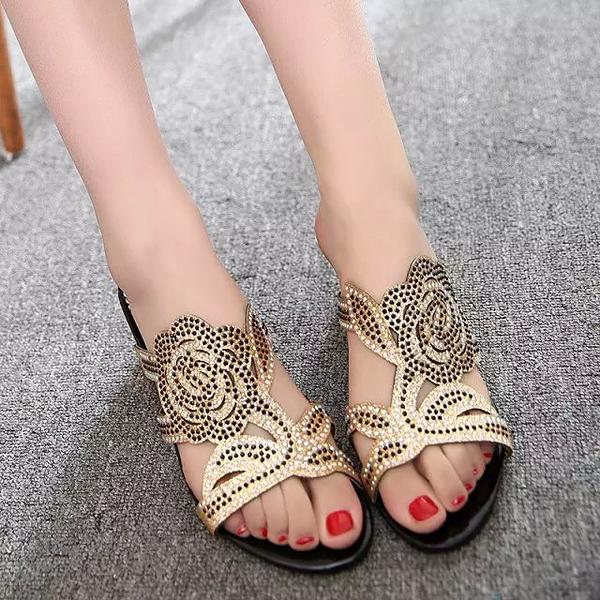 Summer Breathable Beach Sandals Rhinestone Chic Shoes Slip On Platform Sandals