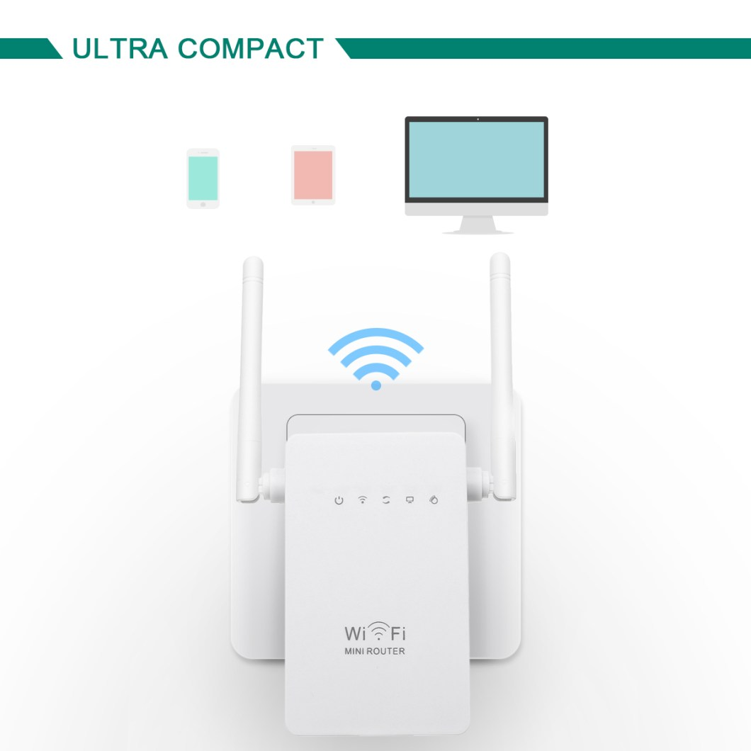 300Mbps  802.11 Dual Antennas Wireless Wifi Range Repeater Booster AP Router UK Plug 25