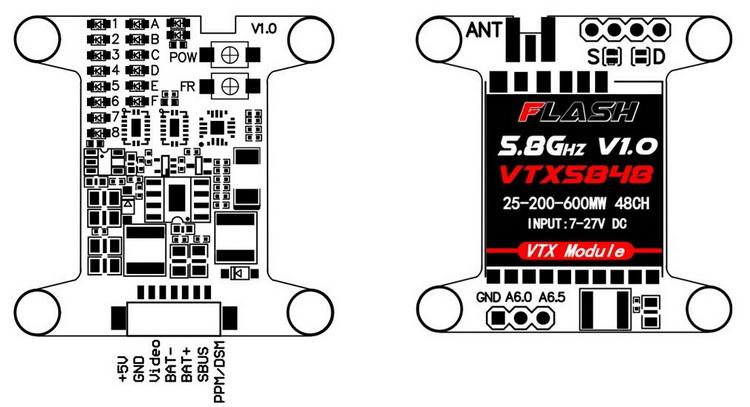 FLASH VTX5848 48CH 5.8G 25mW/200mW/600mW Switchable FPV