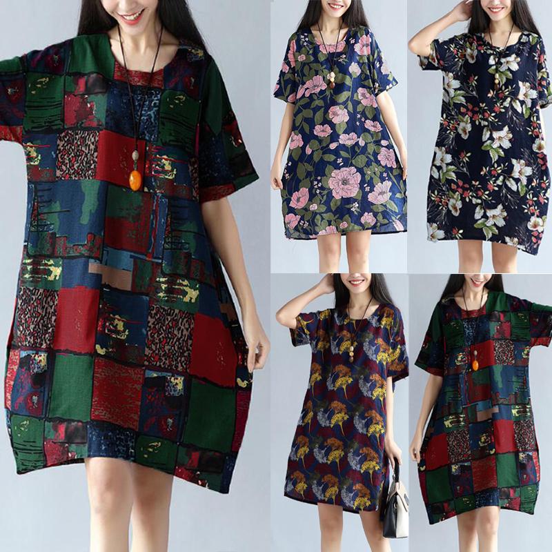 Floral Printed O-neck Split Hem Short Sleeve Dresses For Women