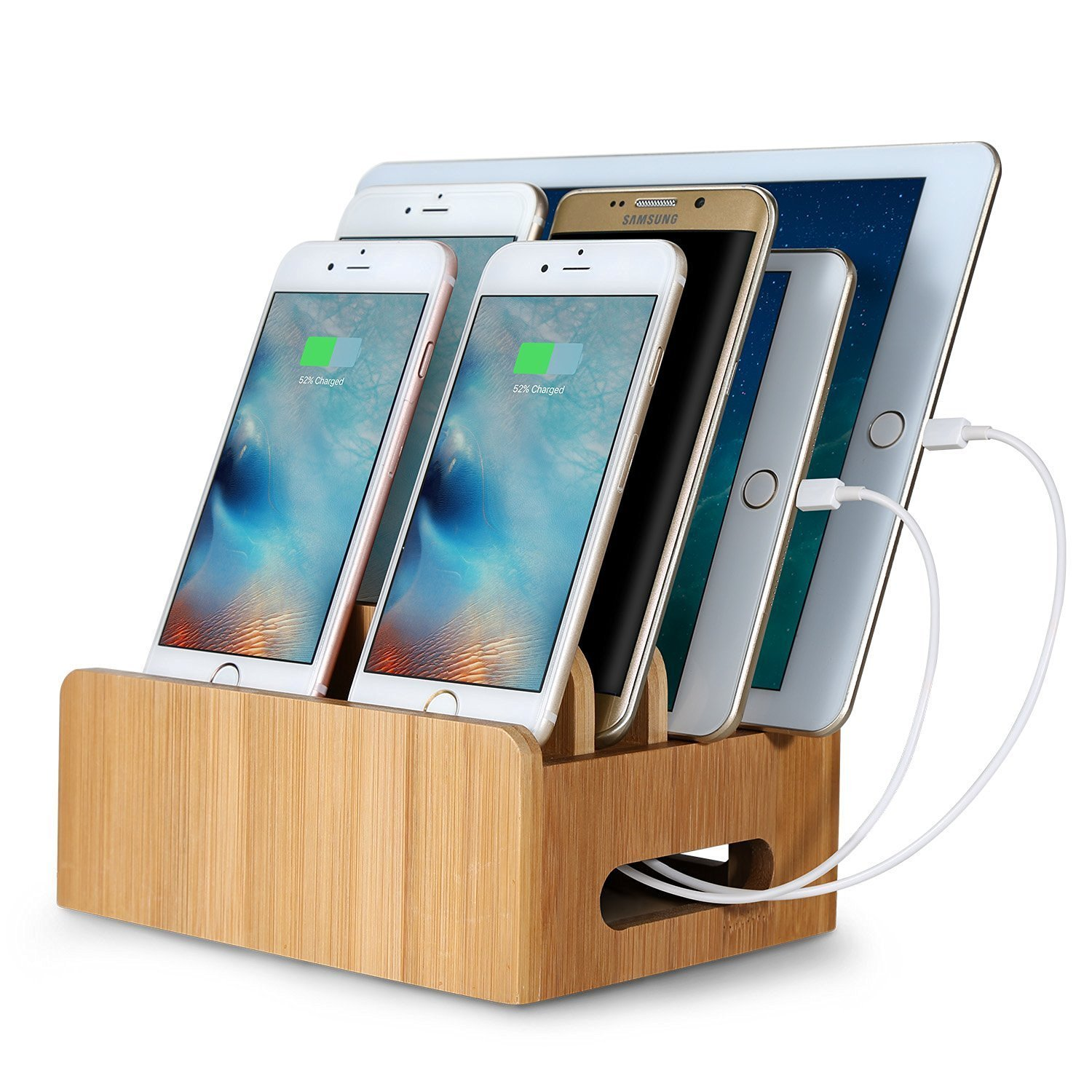 Bamboo Multi device Phone Holder Charging Dock Stand Holder Tablet Stand for Smartphone Tablet