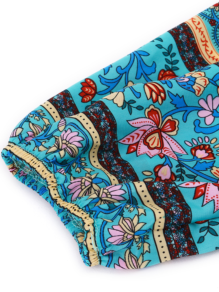 Bohemian Women Floral Printed V-Neck Irregular Tassels Dresses
