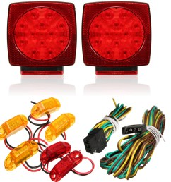 4 x led amber surface mount marker clearance lights 2 x led red surface mount marker clearance lights 1 x 23 6 wire harness with 4 way trailer end plug [ 1200 x 1200 Pixel ]