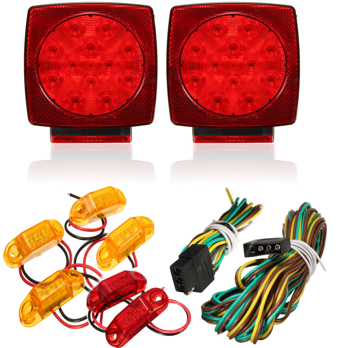 hight resolution of 4 x led amber surface mount marker clearance lights 2 x led red surface mount marker clearance lights 1 x 23 6 wire harness with 4 way trailer end plug
