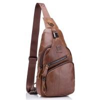 Bullcaptain Men Leather Sling bag Crossbody Bag Large ...