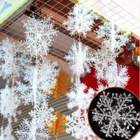 6pcs Christmas Ornament 3D White Snowflake Plastic ...