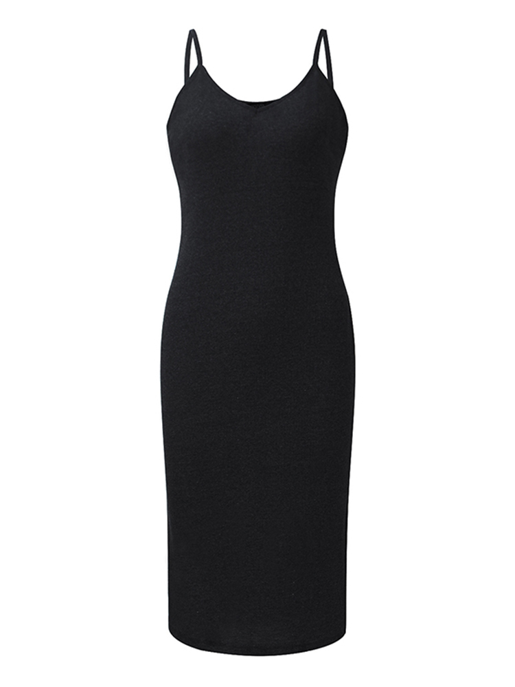 Casual Women Sleeveless V-neck Stretch Ribbed Camisole Dresses