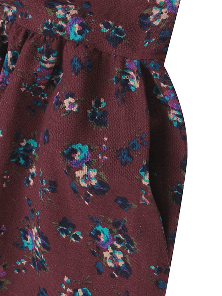 Women Floral Printed Pleated Long Sleeve Maxi Dresses