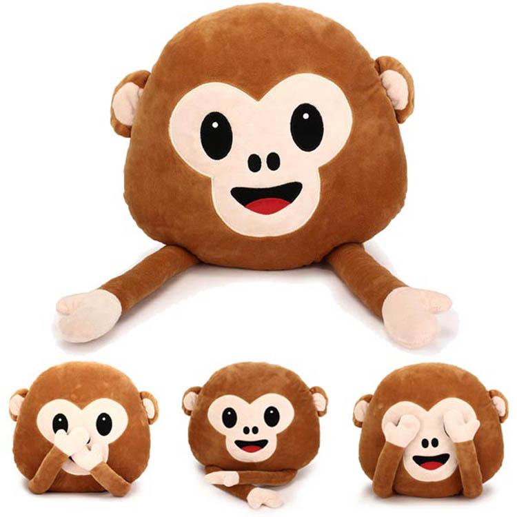 35cm Creative Emoji Monkey With Hands Throw Pillow Plush Stuffed Cushion Office Home Sofa Decor