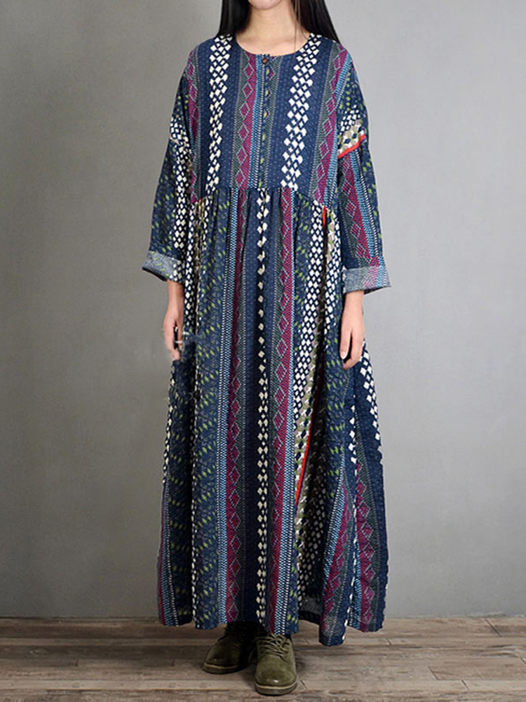 M-5XL Folk Style Bohemian Geometry Print Long Sleeve Vintage Dresses