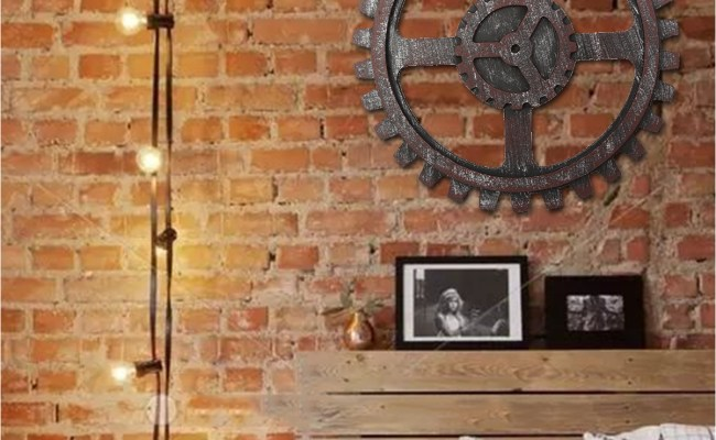 Industrial Style Wooden Gear Wall Decor Antique Home Bar