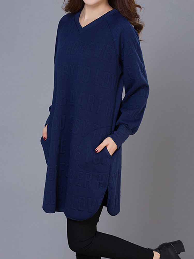 Casual Solid Letter Long Sleeve V-Neck Loose Sweatshirt Dress