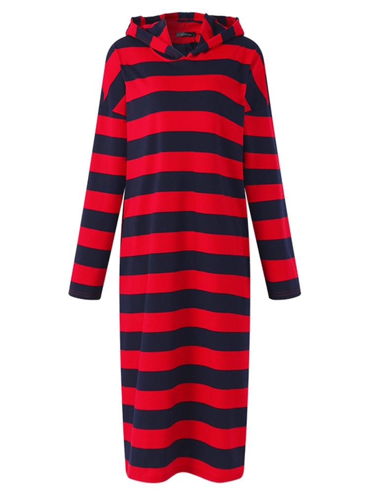 Casual Women Full Sleeve Striped Hooded Sweatshirt Dress