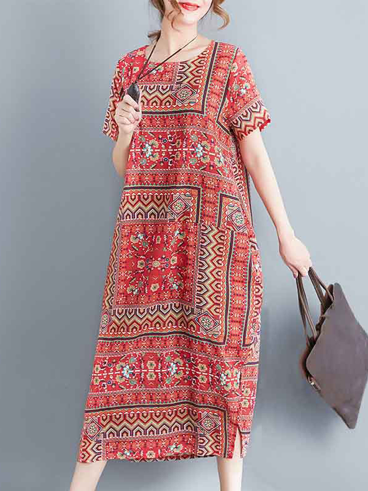 Ethnic Women Floral Print Short Sleeve Split Cotton Vintage Dress