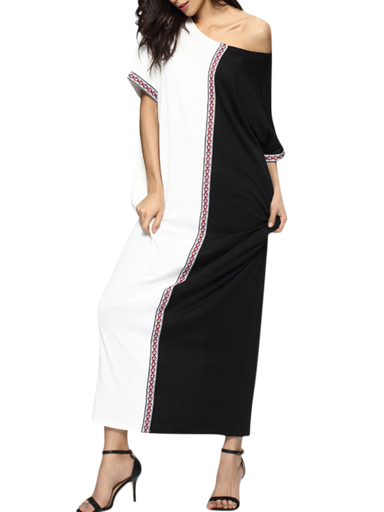 Casual Women Short Sleeve Patchwork Loose O-neck Maxi Dresses