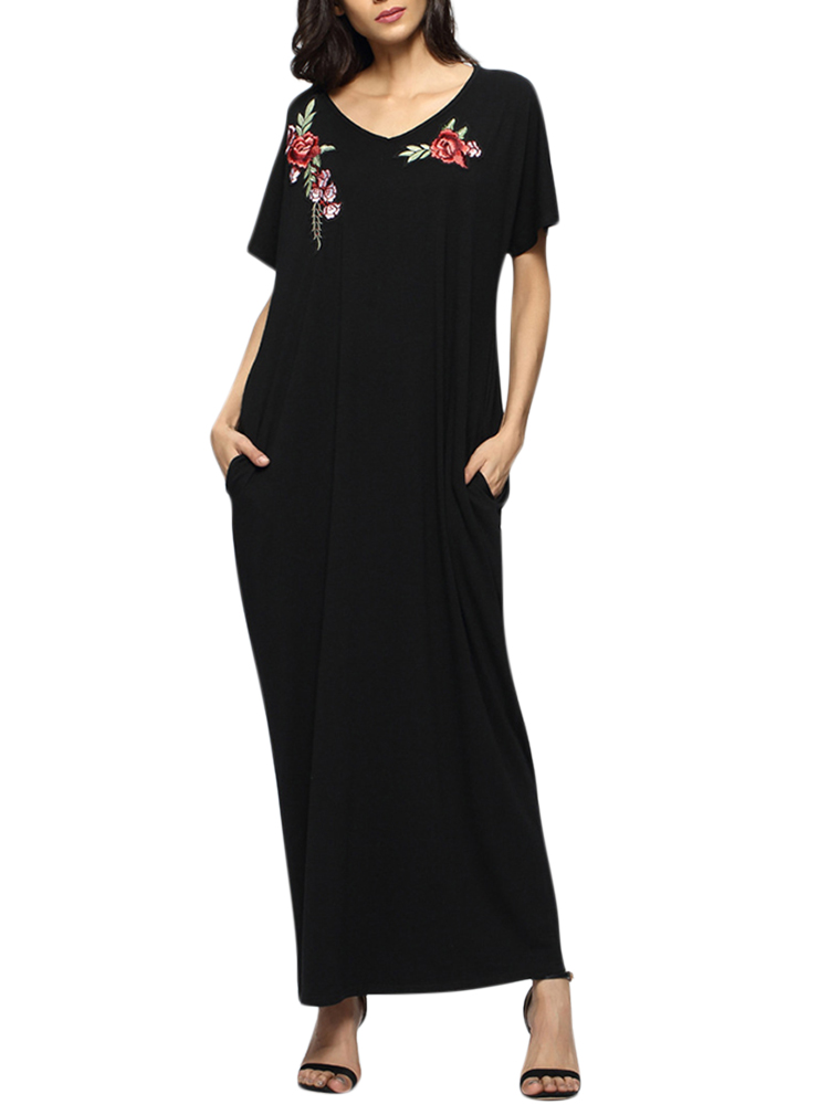 Casual Women Flower Embroidery Loose Maxi Dresses