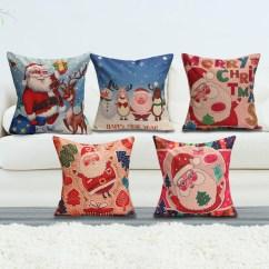 Santa Chair Covers Australia Dining Room Cotton Christmas Linen Pillow Case Cushion Cover