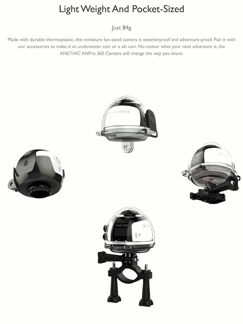 HDKing 360° Mini WiFi Panoramic Video Camera 2448P 30fps