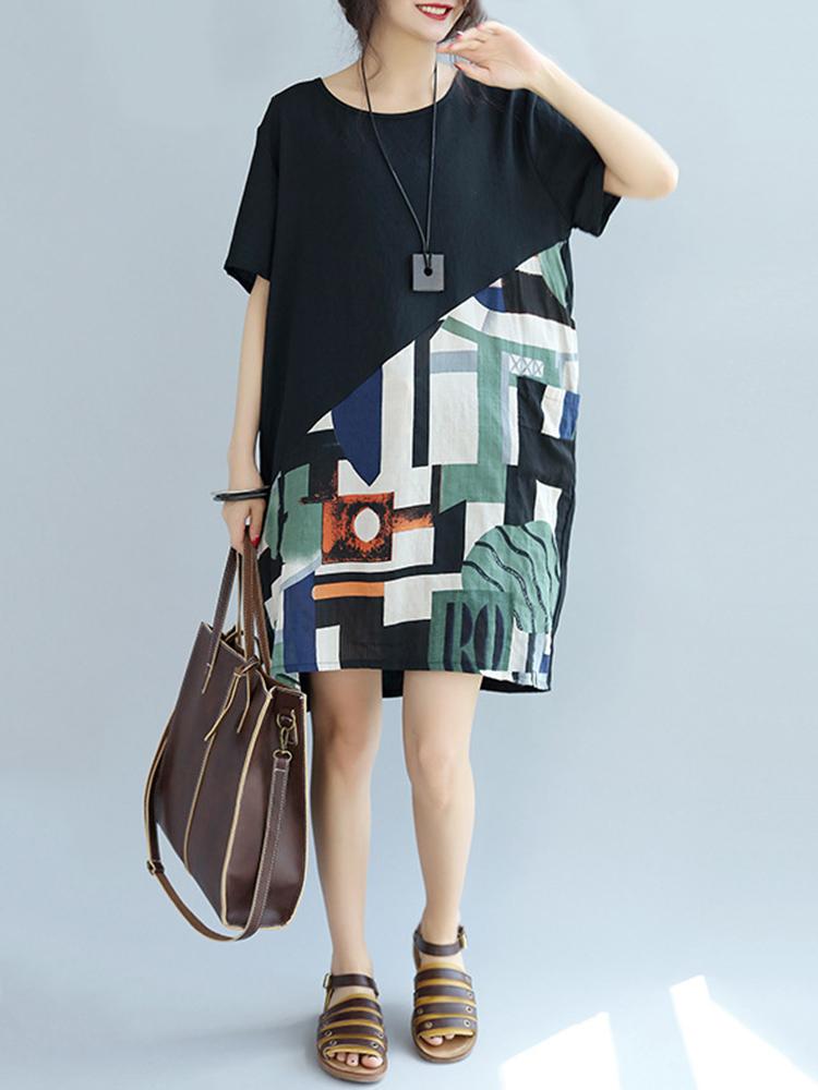 Women Short Sleeve Patchwork Round Neck Mini Dresses
