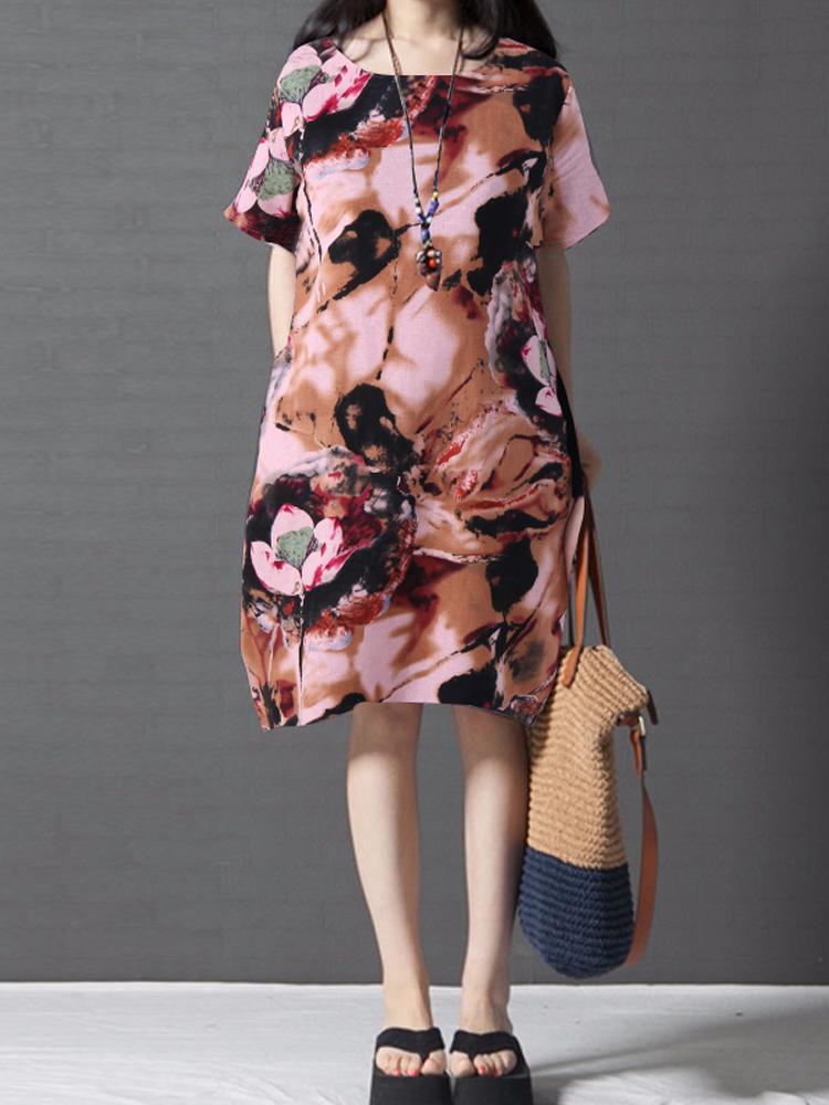 Floral Print Short Sleeve O-neck Loose Mini Dresses with Pocket