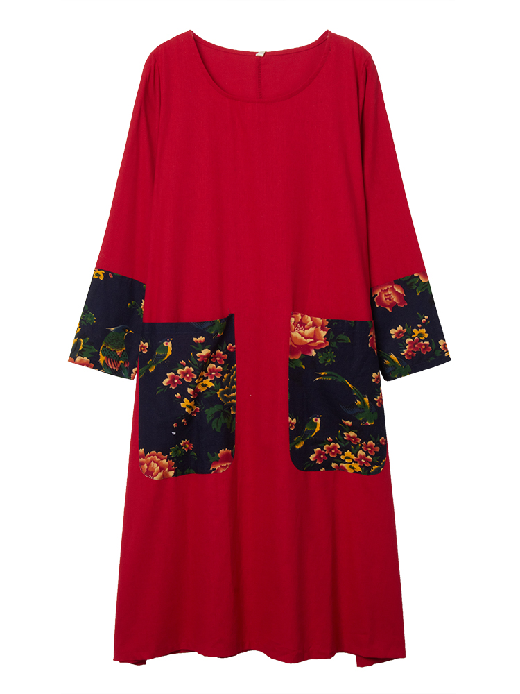 Linen Printed Patchwork Dress