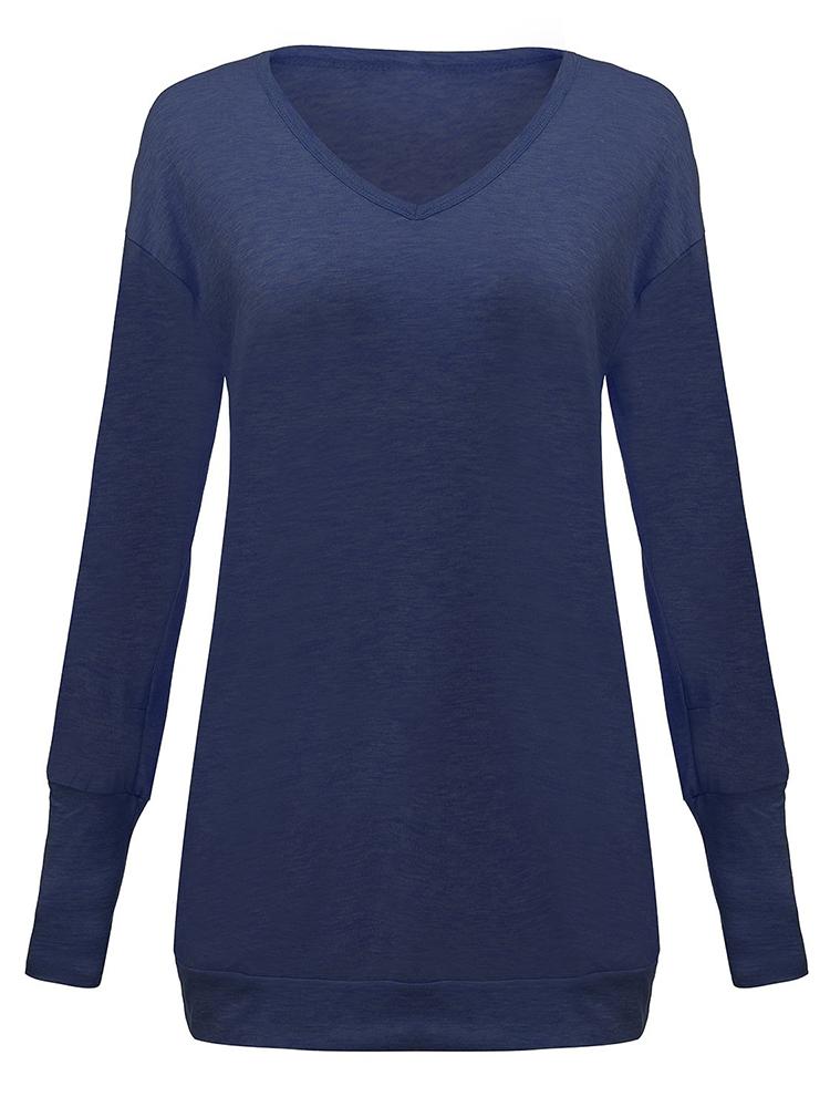 Blue Pocket Solid Long Sleeve Dress