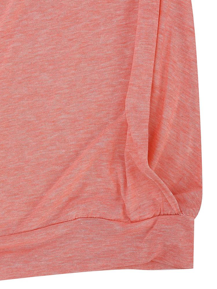 Pocket Solid Long Sleeve Dress Hem