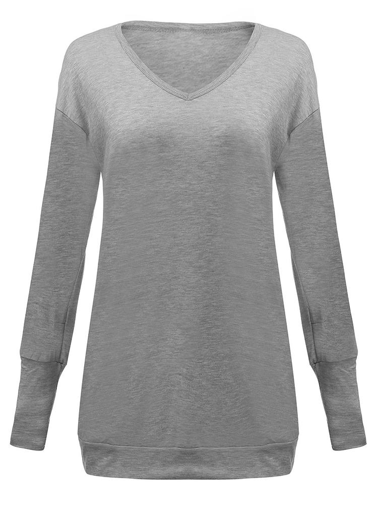 Gray Pocket Solid Long Sleeve Dress