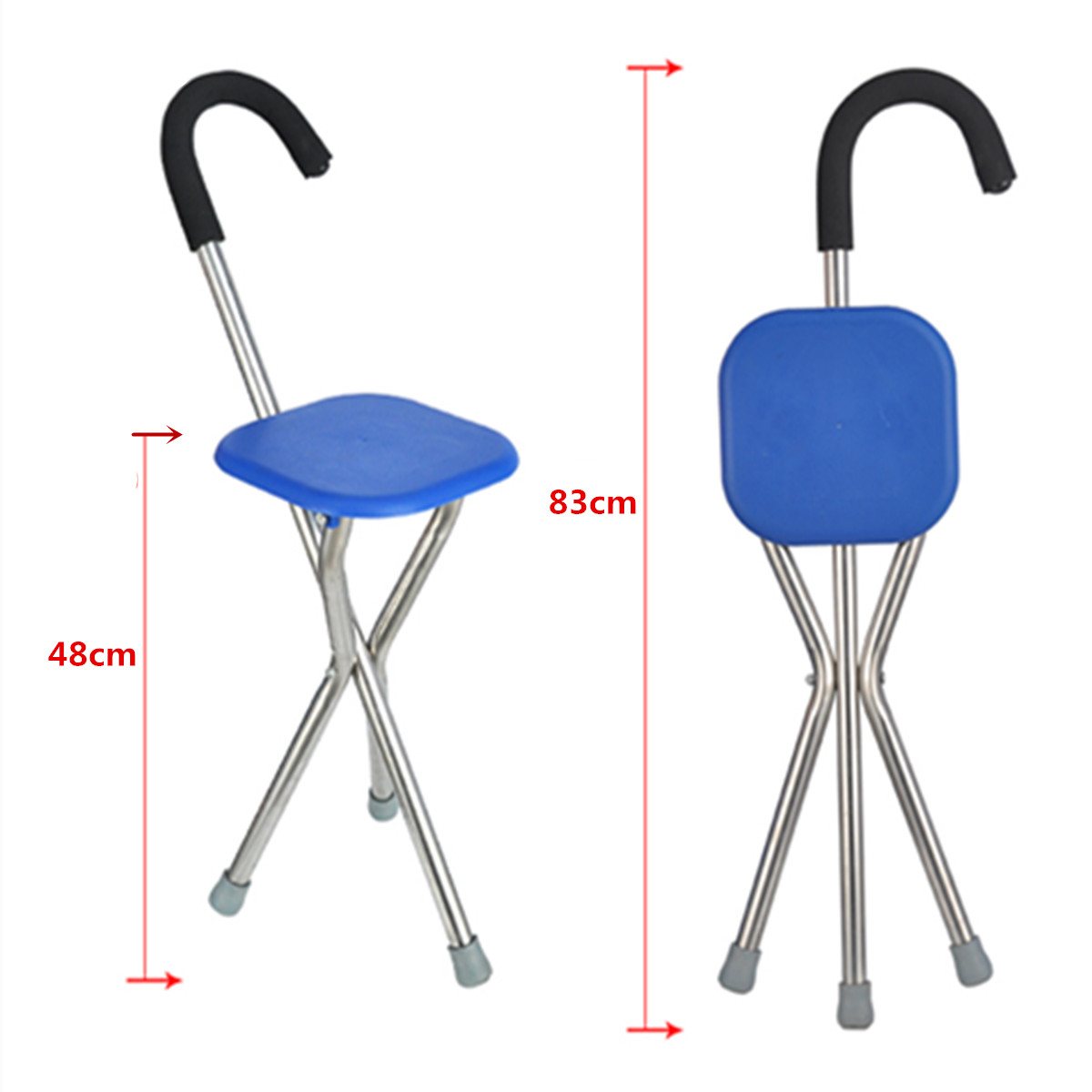 IPRee Outdoor Travel Folding Stool Chair Portable Cane