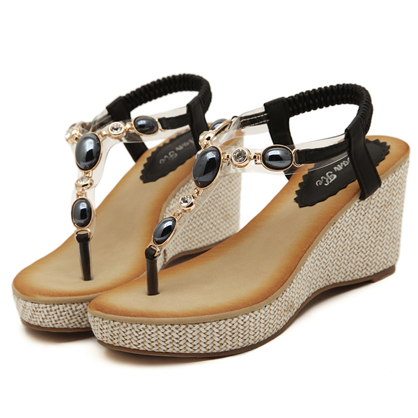 Bohemia Bead Elastic Wedge Sandals Soft Sole Slip-on Platform Beach Sandals