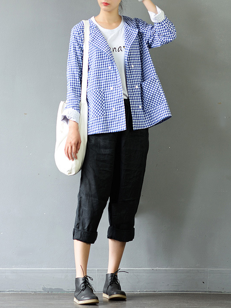 Plaid Long Sleeve Double Breasted O-Neck Blouse For Women