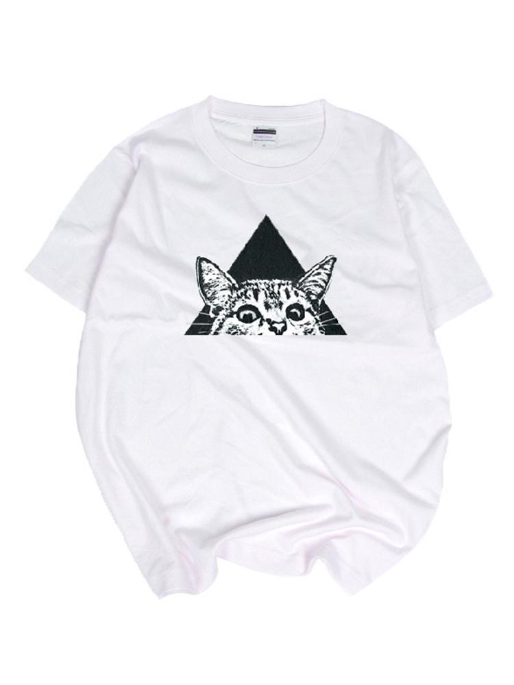 Cartoon Cat Printed Short Sleeve O-Neck Summer Casual T-shirt
