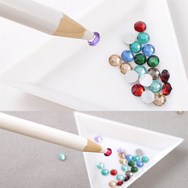 Rhinestones Picker Pencil Nail Art Tool Wax White Pen Gem Crystal